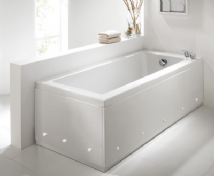 Luxury White 2 Piece adjustable Bath Panels with LED Lights